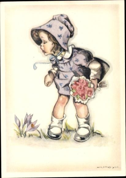 Künstler Ak Peyk, Hilla, Gratulantin, Mädchen mit Blumenstrauß