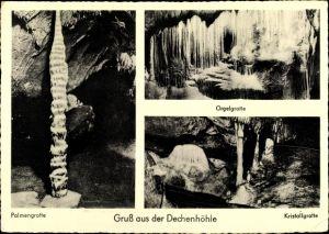 Ak Grüne Iserlohn im Märkischen Kreis, Dechenhöhle, Palmen-, Orgel- und Kristallgrotte, Stalaktiten