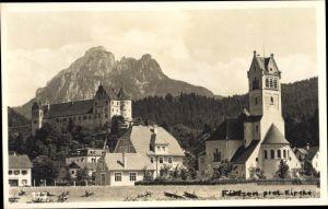 Foto Ak Füssen im Ostallgäu, protestantische Kirche