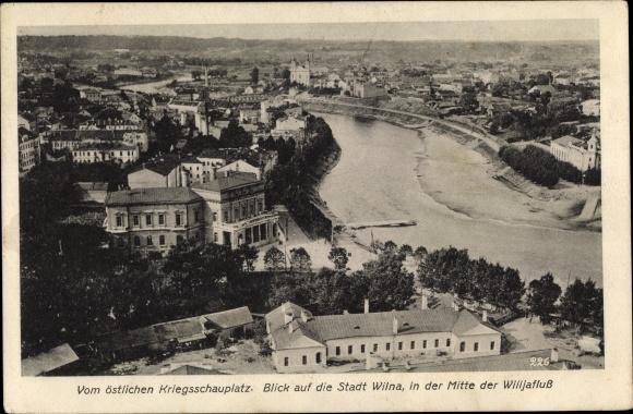 Ak Vilnius Wilna Litauen, Panorama vom Ort u. Wilijafluss