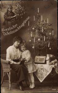 Ak Frohe Weihnachten, Soldat, Frau, Kind, Weihnachtsbaum, Puppe, NPG 14180