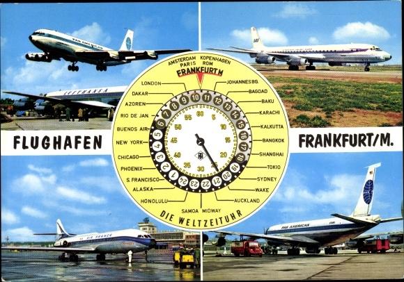 Ak Flughafen Frankfurt Main, Weltzeituhr, Passagierflugzeuge