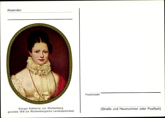 Künstler Ak Königin Katharina von Württemberg, Württembergische Landessparkasse