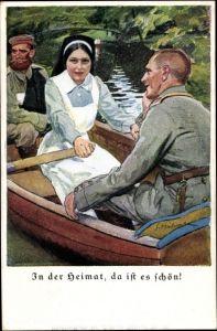 Künstler Ak In der Heimat ist es schön, Krankenschwester mit zwei verwundeten Soldaten in Ruderboot