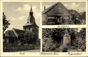 Ak Heiligendorf Wolfsburg in Niedersachsen, Kirche, Geschäftshaus, Kriegerdenkmal