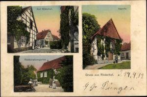Ak Röderhof Diekholzen in Niedersachsen, Gut Röderhof, Kapelle, Restaurationsgarten