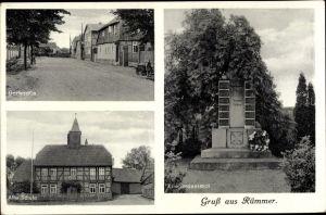 Ak Rümmer Groß Twülpstedt in Niedersachsen, Dorfstraße, Alte Schule, Kriegerdenkmal