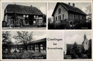 Ak Cremlingen in Niedersachsen, Pfarrhaus, Bienenstand, Kirche, Geschäftshaus