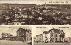 Ak Wüstenbrand Hohenstein Ernstthal in Sachsen, Bahnhof, Chemnitzer Straße, Limbacher Straße