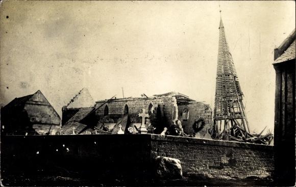 Foto Ak Romain Lothringen Meurthe et Moselle, zerstörte Kirche, Kriegszerstörungen, I. WK