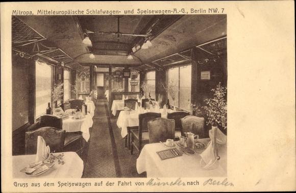 Ak Deutsche Eisenbahn, Mitropa Speisewagen, Innenansicht