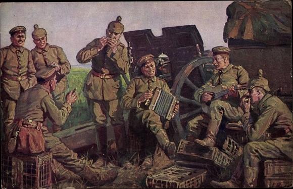 Künstler Ak Roloff, A., Die Künstler der Batterie, Deutsche Soldaten musizieren