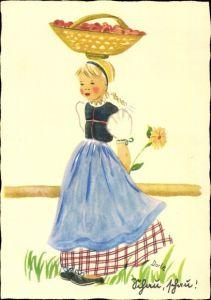Künstler Ak Dorle, Schau schau, Mädchen mit Korb auf dem Kopf