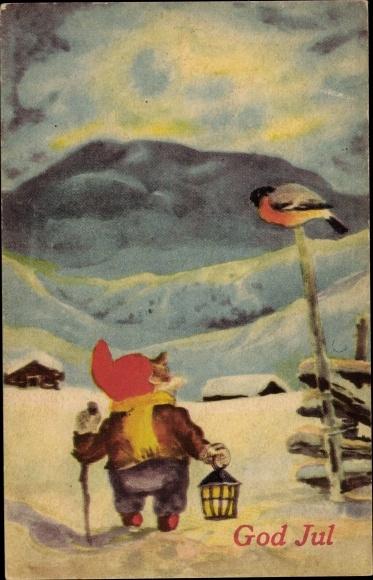 Ak Frohe Weihnachten, God Jul, Zwerg, Wichtel mit Laterne