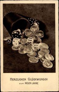Ak Glückwunsch Neujahr, Würfelbecher, Würfel, Münzen, Kleeblatt, Pilze
