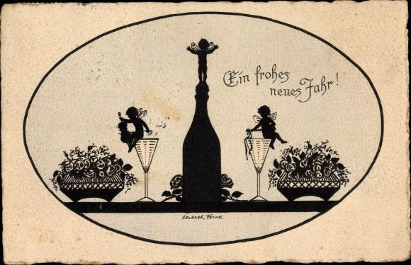 Künstler Ak Forck, Elsbeth, Glückwunsch Neujahr, Engel, Sektflasche, Sektgläser