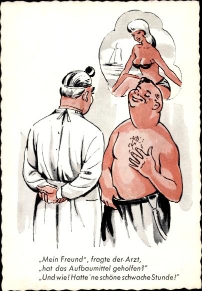 Ak Aufbaumittel, Arzt, Patient, Frau in Badeanzug