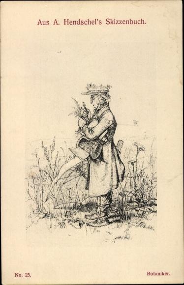 Künstler Ak Hendschel, Albert, Skizzenbuch No. 25, Botaniker