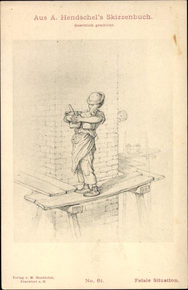 Künstler Ak Hendschel, Albert, Skizzenbuch No. 61, Fatale Situation, Baustelle
