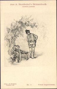 Künstler Ak Hendschel, Albert, Skizzenbuch No. 3, Frisch angestrichen