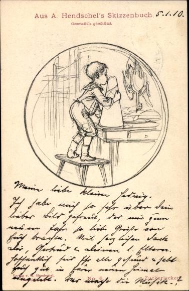 Künstler Ak Hendschel, Albert, Skizzenbuch No. 6, Zuckerlecker