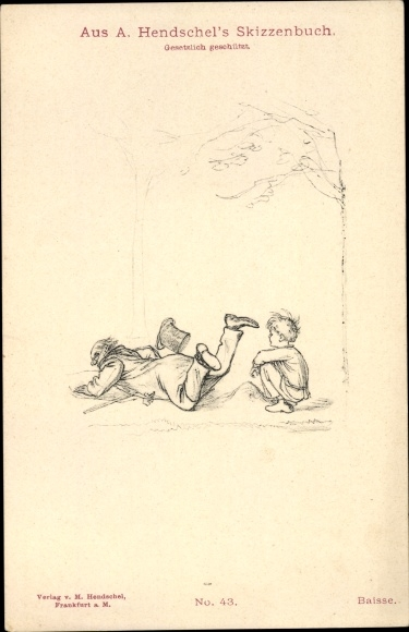 Künstler Ak Hendschel, Albert, Skizzenbuch No. 43, Baisse