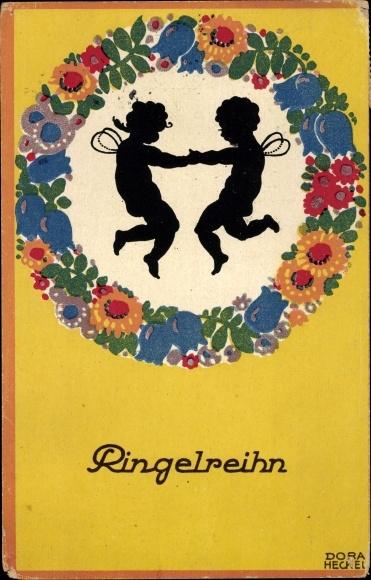 Künstler Ak Heckel, Dora, Ringelreihn, Feen, Blumen