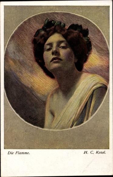 Künstler Ak Kosel, H. C., Die Flamme, Frauenportrait, BKWI 181/1