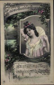 Lied Ak Zwei dunkle Augen, Frauenportrait, NPG 416/9