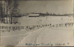 Foto Ak Daugavpils Dünaburg Lettland, Ortschaft im Winter