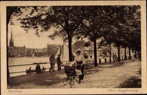 Ak Hamburg Mitte Altstadt, Neuer Jungfernstieg, Binnenalster, Frau mit Kinderwagen
