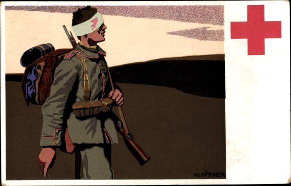 Künstler Ak Deutsches Rotes Kreuz, Verwundeter Soldat, I. WK