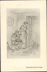 Künstler Ak Hendschel, Albert, Skizzenbuch, Liebe geht durch den Magen, Soldat
