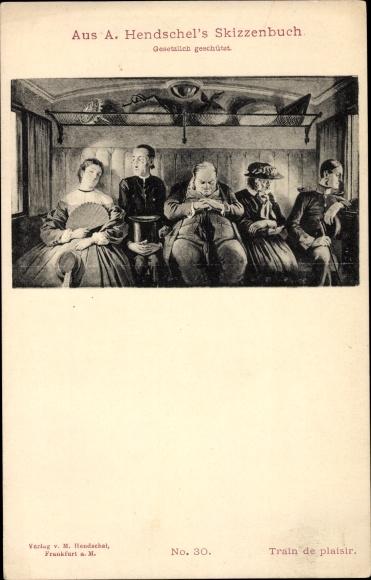 Künstler Ak Hendschel, Albert, Skizzenbuch No. 30, Train de plaisir