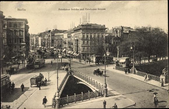Ak Berlin Tiergarten, Potsdamer Brücke, Potsdamer Straße