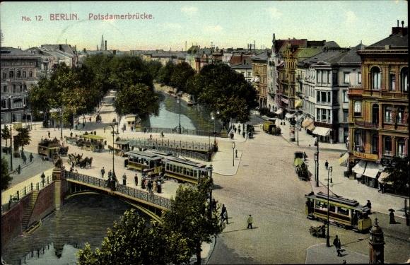 Ak Berlin Tiergarten, Potsdamer Brücke, Straßenbahnen