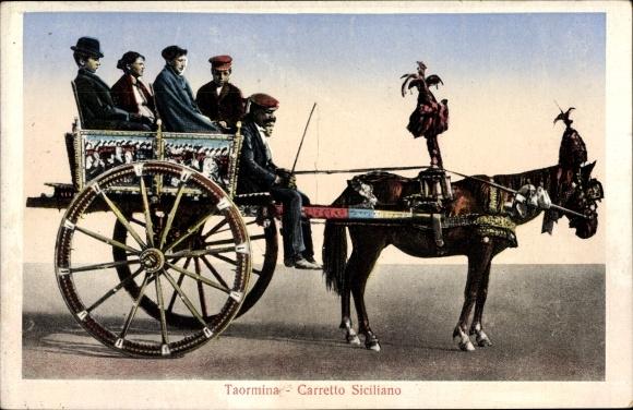 Ak Taormina Sicilia, Carretto Siciliana, Pferdewagen