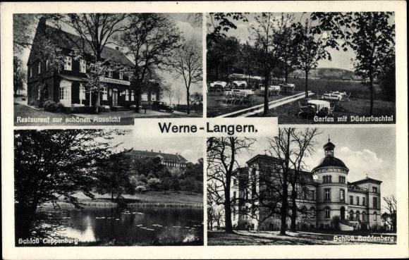 Ak Werne im Kreis Unna Nordrhein Westfalen, Restaurant zur schönen Aussicht, A Hauschopp, Schloss