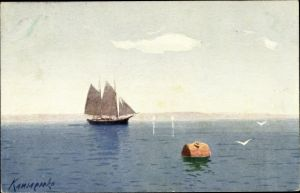 Künstler Ak Segelschiff, Boje