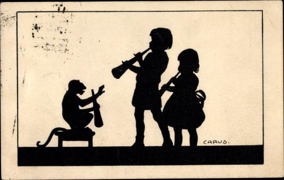 Scherenschnitt Ak Carus, Kinder musizieren, Affe