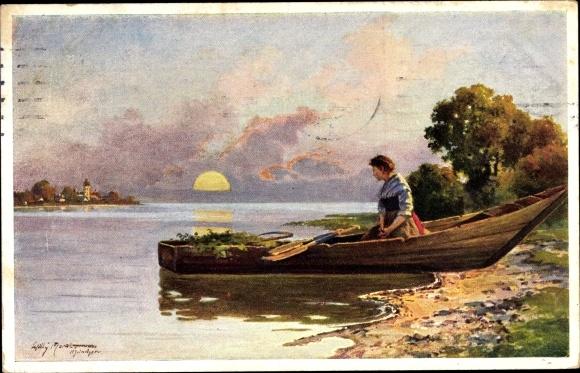 Künstler Ak Frau in einem Ruderboot, Uferpartie