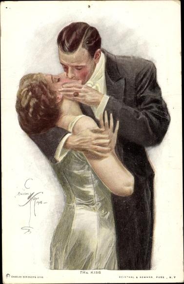 Künstler Ak Fisher, Harrison, The Kiss, Liebespaar beim Kuss