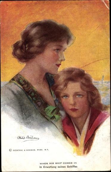 Künstler Ak Boileau, Philip, When his ship comes in, Mutter und Tochter