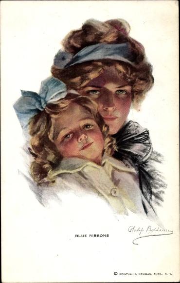 Künstler Ak Boileau, Philip, Blue Ribbons, Mutter und Tochter mit Haarbändern