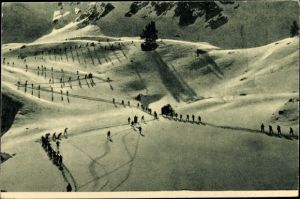 Ak Bayerischer Alpenjäger bei der Übung 1916, Skifahren