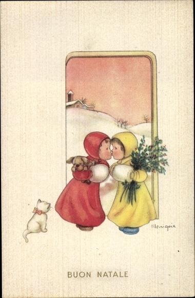 Künstler Ak Buon Natale, Frohe Weihnachten, Mädchen, Hund, Katze