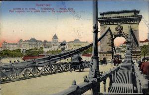 Ak Budapest Ungarn, Kettenbrücke, Königliche Burg