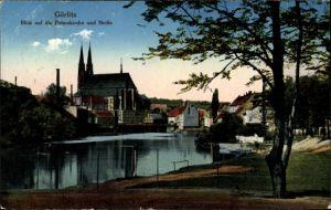 Ak Görlitz in der Lausitz, Partie an der Neiße, Teilansicht vom Ort, Peterskirche