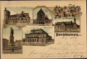Litho Braunschweig in Niedersachsen, Dom, Gewandhaus, Siegesdenkmal, Burg Dankwarderode