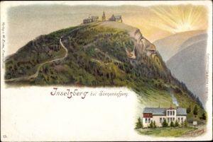 Litho Brotterode Trusetal in Thüringen, Inselsberg bei Sonnenaufgang, Kleiner Inselsberg